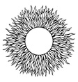 Black hand-drawn sun silhouette isolated in white vector image