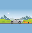 boat towing car on road running along on a sunny vector image vector image