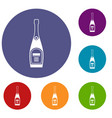 bottle of champagne icons set vector image vector image