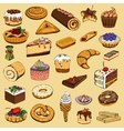 Collection of sweet pastries vector image