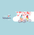couple riding bicycle happy valentines day concept vector image
