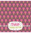 Cute cartoon tulip seamless pattern vector image vector image