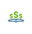 dollar book logo icon design vector image
