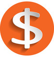 dollar icon paper style vector image vector image