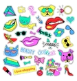 Fashion patch badges Cats and dogs set Stickers vector image vector image