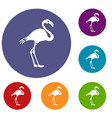 flamingo icons set vector image