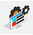 gears and computer monitor isometric icon vector image