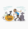 Happy Halloween with zombie and black cat vector image vector image