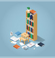 isometric library bookcase vector image vector image