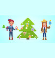 kids in festive costumes vector image