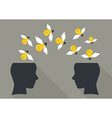 Lightbulbs flying from human head to other head vector image vector image