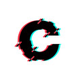 logo letter c glitch distortion diagonal vector image