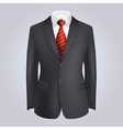Male Clothing Dark Striped Suit with Red Tie vector image vector image