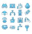 money flow blue icons set vector image vector image