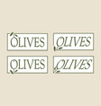 olive label set logos template gourmet vector image