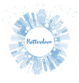 outline rotterdam netherlands city skyline with vector image vector image