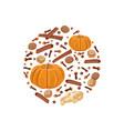 pumpkin spice on bauble shape pumpkin nutmeg vector image vector image