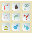 Retro Paper Water Symbols - Icons Set vector image vector image