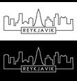 reykjavik skyline linear style editable file vector image vector image