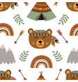 seamless pattern with tribal bear vector image