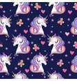 seamless pattern with unicorn heads hearts and vector image