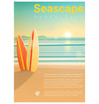 seascape background with surfboards on the beach vector image vector image