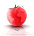 September 2017 tomato calendar vector image vector image