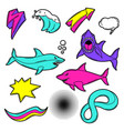 set cartoon sharks and decorative elements vector image