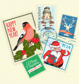 set christmas postal stamps vector image