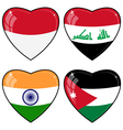 Set of images of hearts with the flags of India vector image