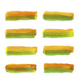 set of watercolor pastel orange and green brushes vector image vector image