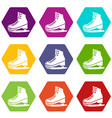 skates icons set 9 vector image vector image
