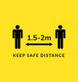social distance meter icon keep distance corona vector image vector image