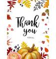 thank you greeting card postcard autumn design vector image