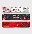 three black friday horizontal banners with vector image vector image