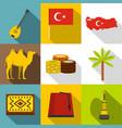 turkey symbols icon set flat style vector image