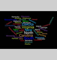 usa word cloud map with words all states names vector image vector image