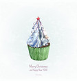 watercolor cupcake christmas and new year card vector image