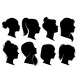 woman heads in profile beautiful female faces vector image