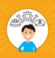 young businessman with workers icons vector image