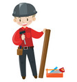 carpenter with wood and tools vector image
