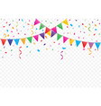 colorful flags with confetti background vector image