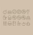 restaurant outline icons big set kitchen vector image