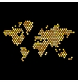 Dotted Gold Colors World Map Isolated on Black vector image