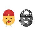asian avatar icon set happy face symbol vector image vector image