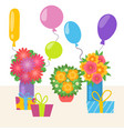 birthday party with flower bouquets gifts and vector image