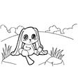 bunny cartoon coloring pages vector image vector image