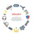 cartoon cyber sport banner card circle vector image