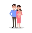 Cartoon dear happy family parents and newborn baby vector image vector image