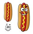 Cartoon hot dog with mustard vector image